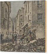 Serious Troubles In Italy Riots Wood Print by French School