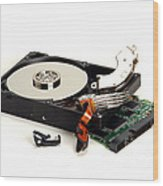 Seriously Crashed Hard Drive Wood Print by Olivier Le Queinec