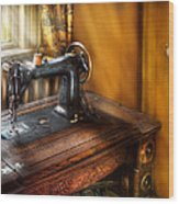 Sewing Machine  - The Sewing Machine  Wood Print by Mike Savad
