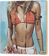 Shakira Artwork Wood Print by Sheraz A