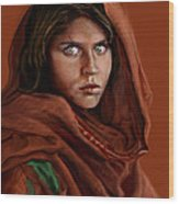 Sharbat Gula Wood Print by Reggie Duffie