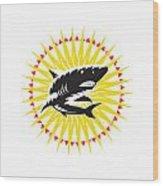 Shark Swimming Up Sunburst Woodcut Wood Print by Aloysius Patrimonio
