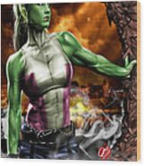 She-hulk Wood Print by Pete Tapang