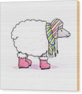 Sheep In A Scarf Wood Print by Christy Beckwith