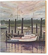 Shem Creek Wood Print by Ben Kiger