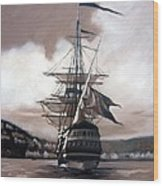 Ship In Sepia Wood Print by Janet King