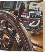 Ships Wheel Wood Print by Dale Kincaid