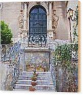 Sicilian Village Steps And Door Wood Print by David Smith