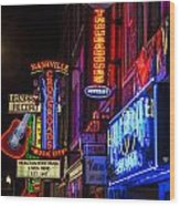 Signs Of Music Row Nashville Wood Print by John McGraw