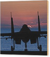 Silhouette Of Military Attack Aircraft Against Vibrant Sunset Sk Wood Print by Matthew Gibson
