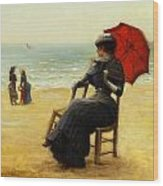 Sitting By The Sea Wood Print by Edouard Bisson