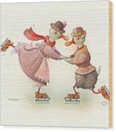 Skating Ducks 3 Wood Print by Kestutis Kasparavicius