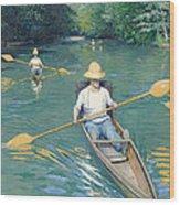 Skiffs Wood Print by Gustave Caillebotte