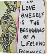 Skull Quoting Oscar Wilde.9 Wood Print by Fabrizio Cassetta