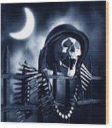 Skull Wood Print by Tony Cordoza