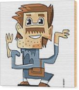 Smart Guy Doodle Character Wood Print by Frank Ramspott