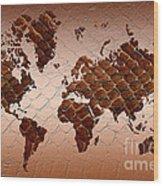 Snake Skin World Map Wood Print by Zaira Dzhaubaeva