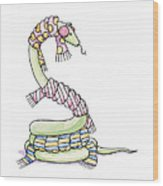 Snake Wearing A Scarf Wood Print by Christy Beckwith