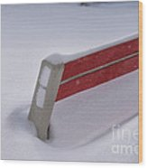 Snow Covered Bench Wood Print by Thomas Woolworth
