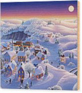 Snow Covered Village Wood Print by Robin Moline