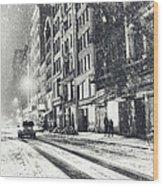 Snow - New York City - Winter Night Wood Print by Vivienne Gucwa