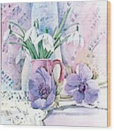 Snowdrops And Anemones Wood Print by Julia Rowntree