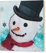 Snowman Christmas Art - Frosty Wood Print by Sharon Cummings