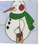 Snowy Man Wood Print by Norma Appleton