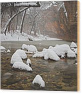 Snowy West Fork Wood Print by Peter Coskun