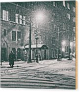 Snowy Winter Night - Sutton Place - New York City Wood Print by Vivienne Gucwa