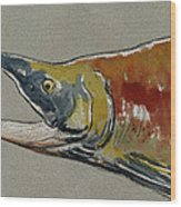 Sockeye Salmon Head Study Wood Print by Juan  Bosco
