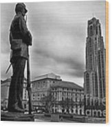 Soldiers Memorial And Cathedral Of Learning Wood Print by Thomas R Fletcher