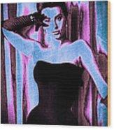 Sophia Loren - Blue Pop Art Wood Print by Absinthe Art By Michelle LeAnn Scott