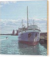 Southampton Docks Ss Shieldhall Ship Wood Print by Martin Davey