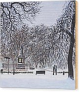 Southampton Watts Park In The Snow Wood Print by Martin Davey