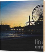 Southern California Santa Monica Pier Sunset Wood Print by Paul Velgos