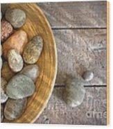 Spa Rocks In Wooden Bowl On Rustic Wood Wood Print by Sandra Cunningham