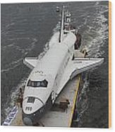 Space Shuttle Enterprise Is Barged To The Intrepid Air And Space Museum Wood Print by Steven Spak
