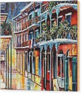 Sparkling French Quarter Wood Print by Diane Millsap