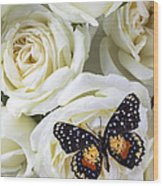 Speckled Butterfly On White Rose Wood Print by Garry Gay