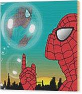 Spiderman 4 Wood Print by Mark Ashkenazi