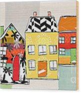 Spirit House Row Wood Print by Linda Woods