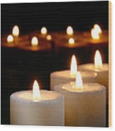 Spiritual Reflection Candles Wood Print by Olivier Le Queinec