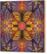 Split Crops Fractal Wood Print by Peggi Wolfe