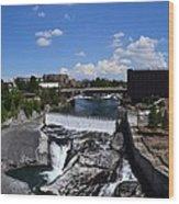 Spokane Falls And Riverfront Wood Print by Michelle Calkins