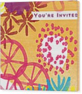 Spring Floral Invitation- Greeting Card Wood Print by Linda Woods