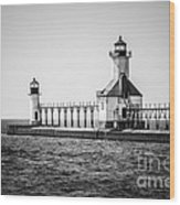 St. Joseph Lighthouses Black And White Picture  Wood Print by Paul Velgos