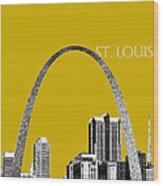 St Louis Skyline Gateway Arch - Gold Wood Print by DB Artist