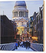 St. Paul's Cathedral London At Dusk Wood Print by Elena Elisseeva