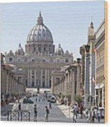 St Peter Basilica Viewed From Via Della Conciliazione. Rome Wood Print by Bernard Jaubert